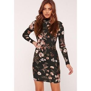 Missguided High Neck Bodycon Dress Floral